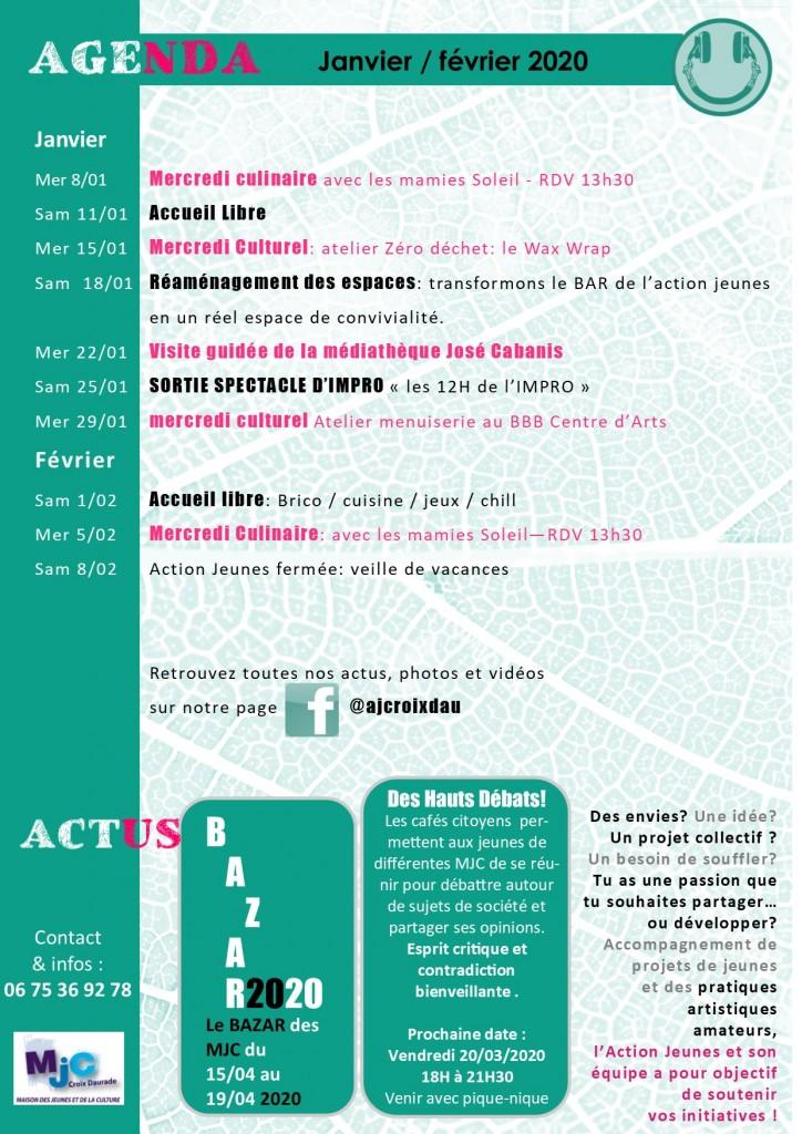 Action Jeunes MJC Croix Daurade programme janvier février