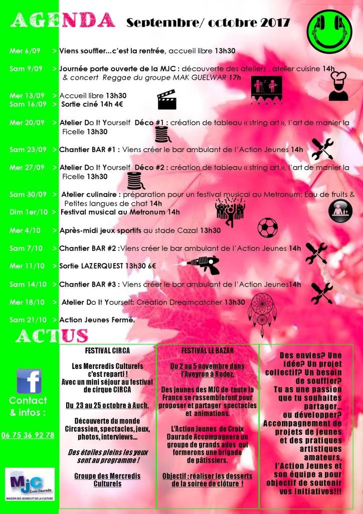 L'agenda de l'Action Jeunes en septembre et octobre 2017